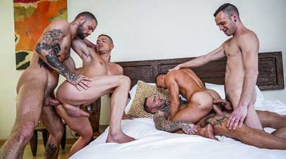 Dylan James, Jeffrey Lloyd, Drake Rogers, and Ruslan Angelo's bareback foursome is now streaming on Lucas Entertainment! The last time Dylan James appeared on camera...