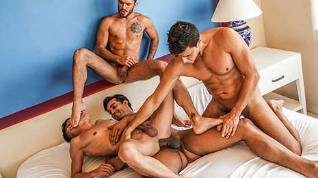 Marco Antonio is a handsome new addition to the Lucas Men and a Lucas Entertainment exclusive model. He's tall well over six feet and has a huge uncut cock between his legs.