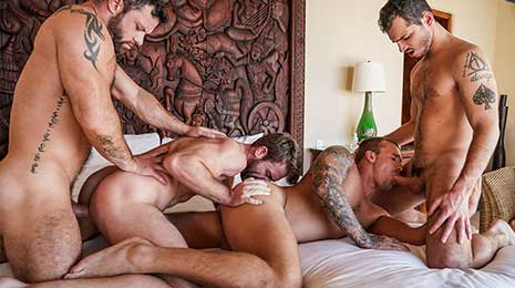 Sergeant Miles invited his fuck buddies Isaac X, Gabriel Phoenix, and Ricky Hard over for some kinky fun. Sergeant has a well-known oral fixation he loves sucking cock, so with their consent...