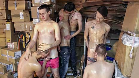 Nothing makes the working day go faster than taking a good break to enjoy hard cocks and tight bareback ass. What starts out as just a couple of the lads getting a little too friendly soon spirals...