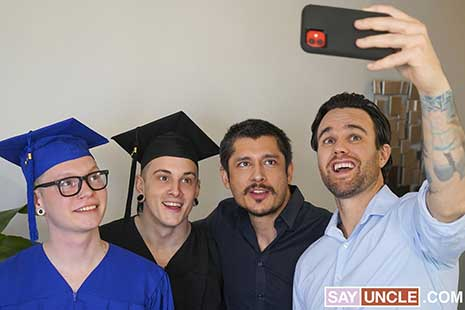 Stepdads Beau Reed and Rocky Vallart are celebrating the graduation of their respective twink stepsons Marco Bianchi and Harvey Sid when the boys overhear them talking about all their crazy...