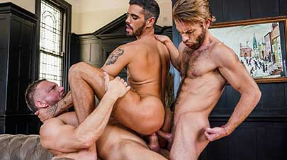Tomas Brand and Gabriel Phoenix double team Valentin Amour on Lucas Raunch. Valentin is a new and handsome face among the Lucas Men, and he's quite limber too.