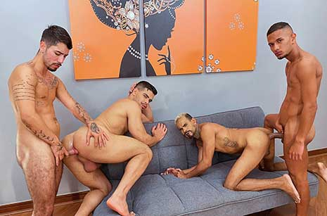 """Imagine the hottest four-man orgy in steamy Rio, where the studs are hung 9"""" plus and ready to fuck all night. Well, imagine no more because in a hotel room barely big enough to hold that 3 feet..."""