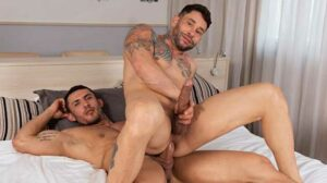 Part of the original cast of superstuds at Rawhole, Yury Santana's back, sucking face (and more) with tatted tough guy Paulo Pikasso. As they kiss Yury strokes both their thick uncut tools.